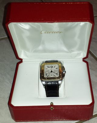 Cartier Santos Chronograph 100 Xl Sta/gold Mit Box Bild