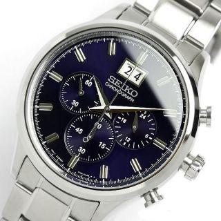 Nagelneu Seiko Spc081p1 Armbanduhr Chronograph Blaues Ziffeblatt WunderschÖn Bild
