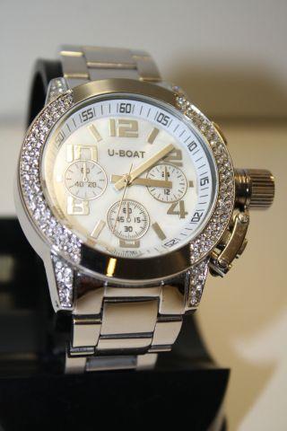 U - Boat Uhr Chronometer Silber Diamanten Kristalle Stahl Modisch Edel Top Bild