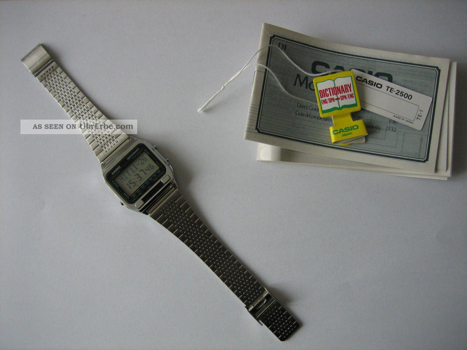 Casio Te - 2500 Dictionary,  Nos,  Vintage,  Retro,  Rar,  Selten,  Digital,  80er Armbanduhren Bild