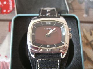 Fossil Kult - Uhr Big - Tic Am 3696 Mit Schwarzen Lederarmband Und Box Top Bild