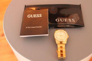 Guess Gold Damen Uhr 12005l1 Metall Mit Steinen_top Zustand_ Bild