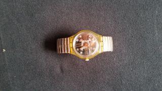 Swatch Uhr Gold Bronaze Silber Elastisches Armband Frauen Weihnachten Analog Bild