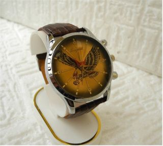 Trendige Herren Uhr - Adler Eagle Motiv - Lederoptik Schwarz - Analog - No - Name Bild