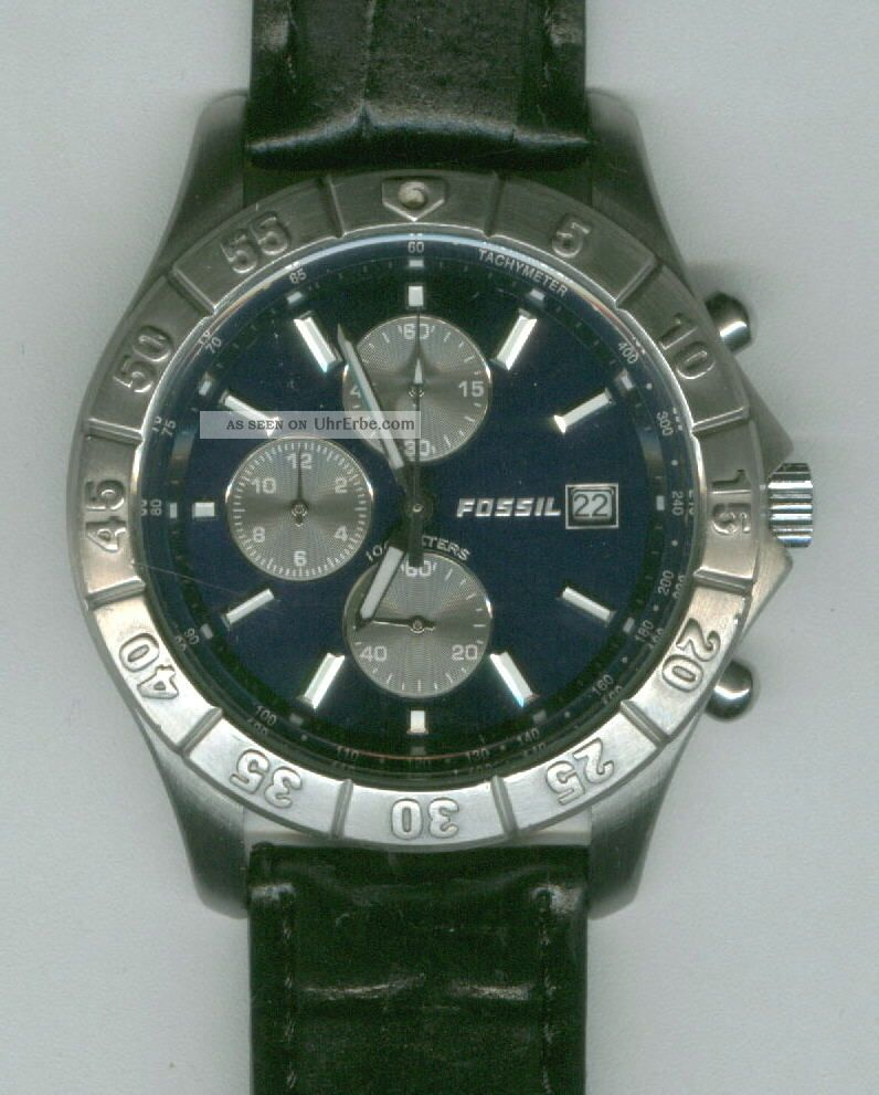herrenuhr fossil blue chronograph edelstahl lederarmband. Black Bedroom Furniture Sets. Home Design Ideas