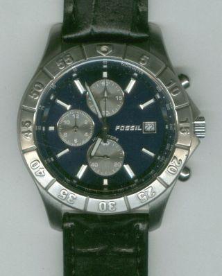 Herrenuhr Fossil Blue Chronograph Edelstahl Lederarmband Herren Uhr Top Bild