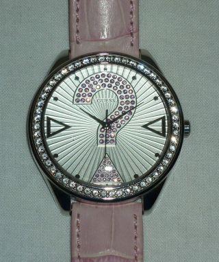 Guess Armbanduhr Xl Mit Swarovski Steinen,  Silber Und Rosa Mit Geschenkbox Bild