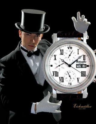 EichmÜller 6 - Zeiger Automatik Uhr Analog Herrenuhr Vollkalender Edelstahl Bild