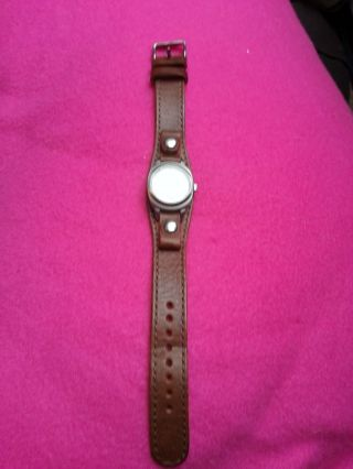 Fossil Damenuhr Armbanduhr Lederband Braun Ziffern Datumsanzeige Leder Silber Bild