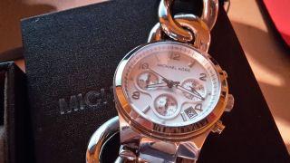 Michael Kors Armbanduhr Silberfarben Elegant Wie Originale Box Bild