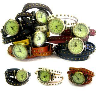 Armbanduhr Wickelarmband Uhr Wickeluhr Lederarmband Trenduhr Designuhr 7 Farben Bild
