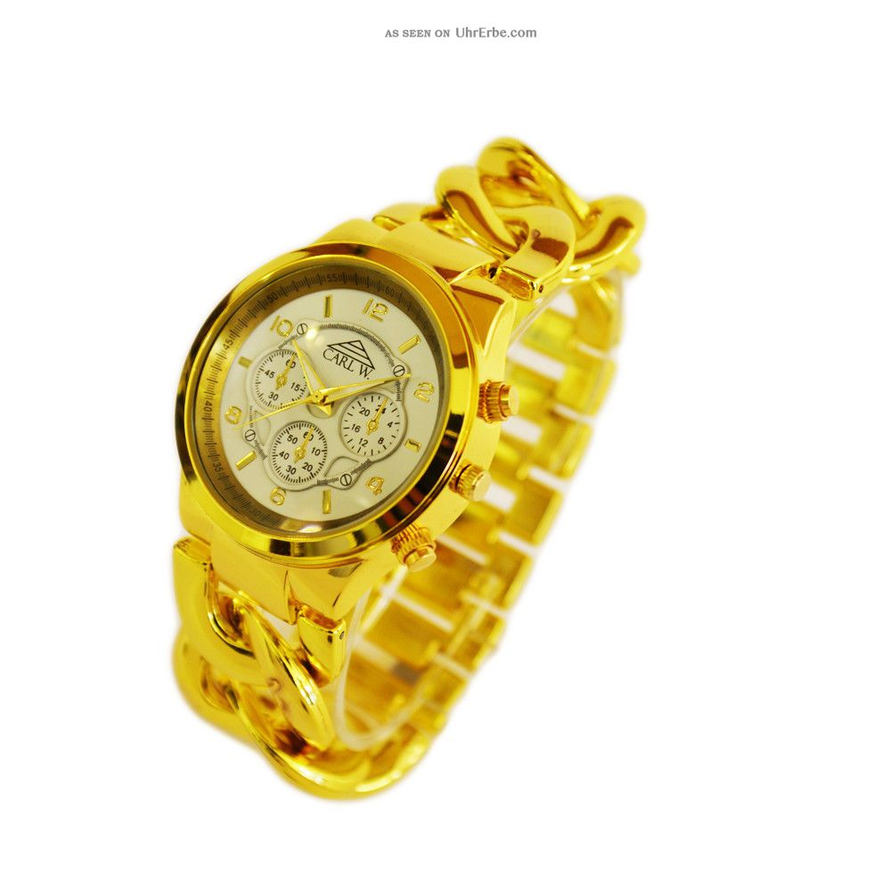 Edle Carlw. Gold Armbanduhr Uhr Damenuhr Rose Silber ...