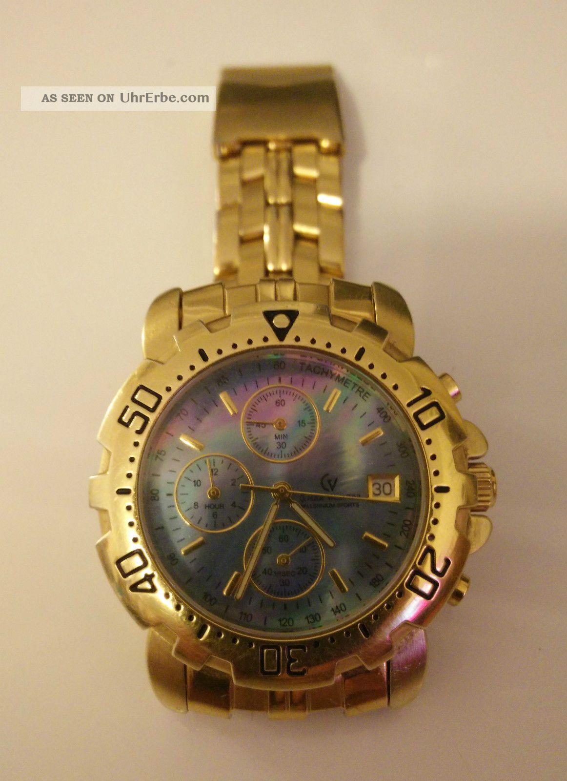 Claude Valentini Uhr Chronograph 18 Karat Platiert Vergoldet Goldummantellung Armbanduhren Bild