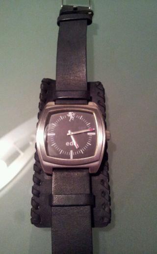 Esprit Armbanduhr Uhr Edc Schwarz Edelstahl Leder Bild