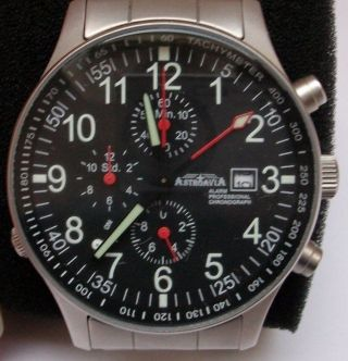 Astroavia R7s Alarm Professional Chronograph Fliegeruhr Edelstahlarmband In Ovp Bild