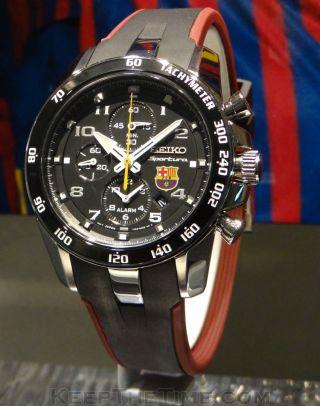 Seiko Uhr Alarm Chronograph Saphire Glass Watch Fc Barcelona Tachymeter Bild