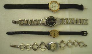 4 Alte Damen Uhren Mit Armband Funktionstüchtig Davosa Swiss,  Dugena,  Lacher Bild