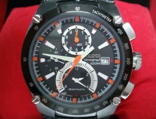Seiko Sportura 7t62 - 0ed0 Chronograph Quartz Uhr Tachymeter Stoppuhr Datum Alarm Bild