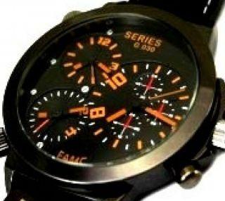 Schwarz Orange Xxxl U - Boot Retro Armbanduhr Trible Time Leder Herrenuhr Bild
