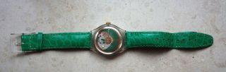 Orig.  Swatch Automatik 23 Jewels Grün,  Lederarmband,  1993,  Top Uhr. Bild