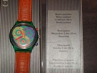 Swatch Uhr Crono Orange/grün Bild