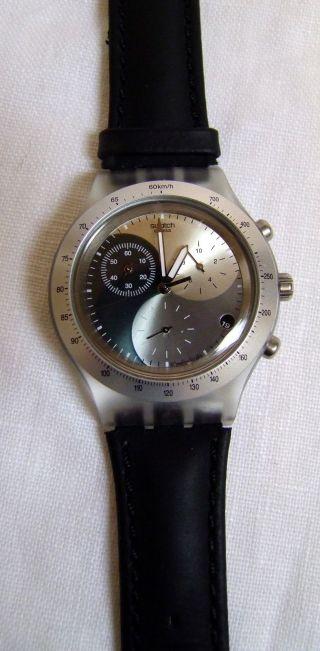Schöne Orig.  Swatch - Uhr Für Herren (lederarmband,  2 - 3 X Getragen) Bild