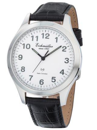 EichmÜller Funk Armbanduhr Herrenuhr Analog Dcf 77 Atom Uhr Signal Weiß Bild