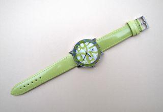Damen Uhr Quartz,  Rund Lederband Time Kiwi Bild