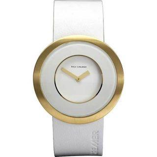 Rolf Cremer Colours Armbanduhr Uhr 495308 Weiß Gold Lederarmband Edelstahl Bild