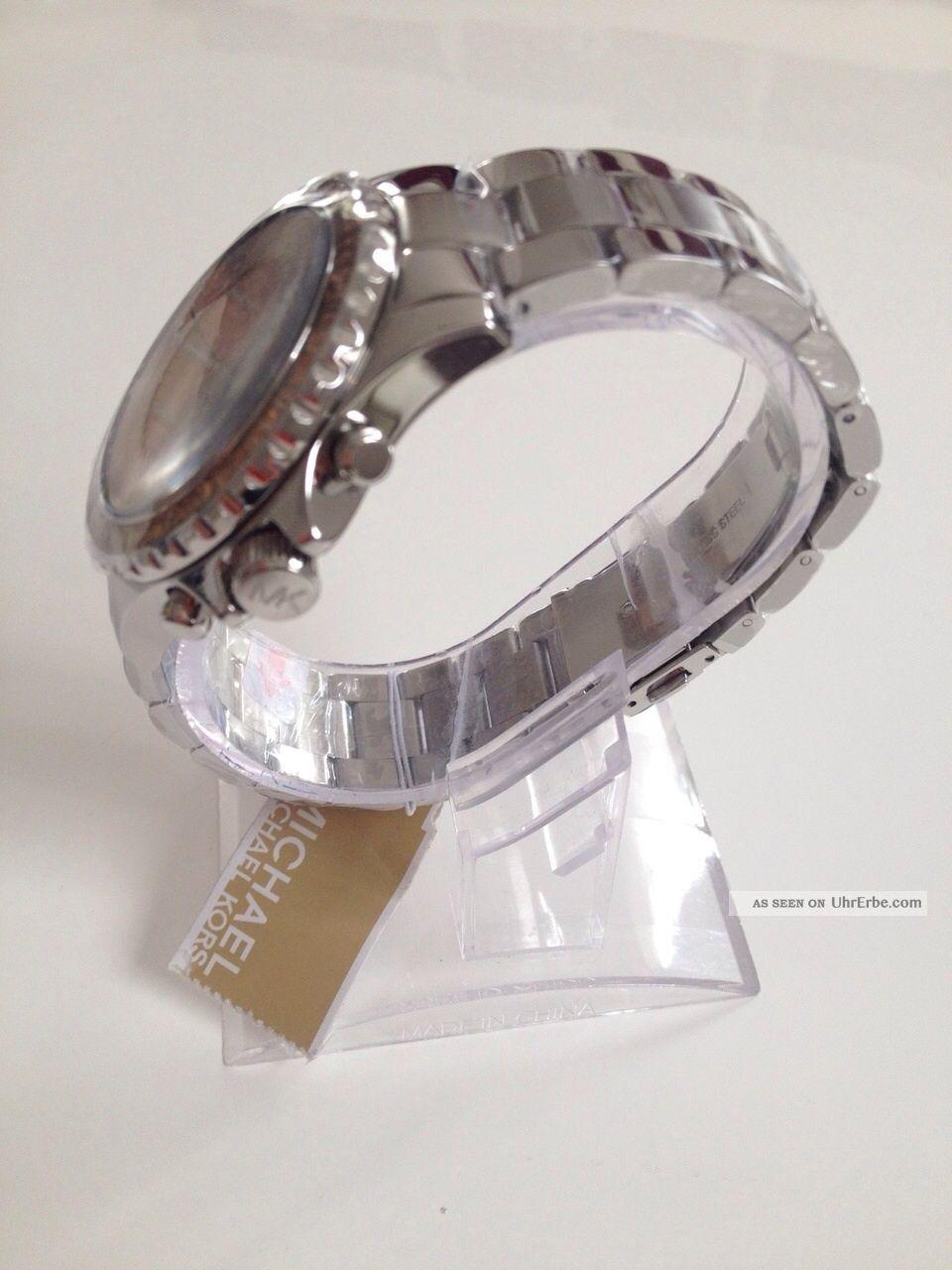 Michael Kors Mk5870 Damenuhr Silber Mit Steinen Und Rosegold
