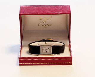 Damen - Uhr Cartier,  Les Must De Cartier,  Tank,  Silber Vergoldet,  Quartz Bild