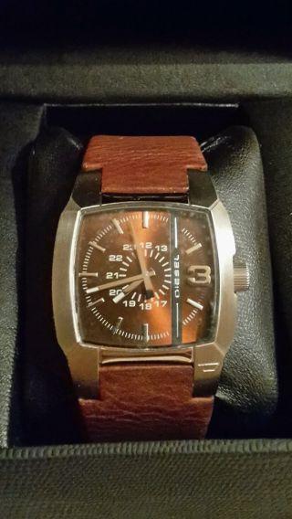 Diesel Armbanduhr Damen U Herren Uhr Unisex Braun Silber Leder Dz1090 Np 119€ Bild