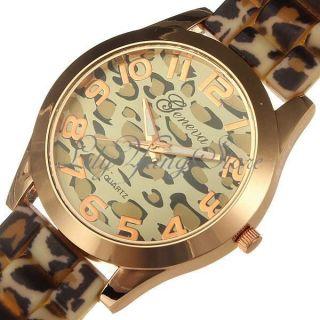 Leopard Damenuhr Armbanduhr Kristall Silikon Armband Uhren Quarz Uhr Mode Bild