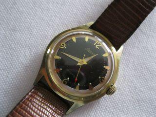 Alte Armbanduhr Foresta Schwarzes Zifferblatt 17 Jewels Mech.  Werk - 50er Jahre Bild