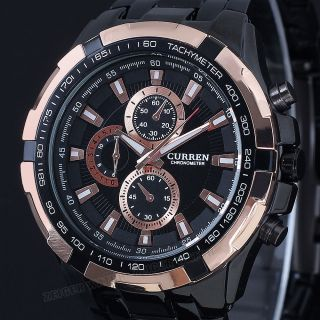 Schwarz Gold Edelstahl Herren Uhr Massiv Xl Herren Armbanduhr Analog Quarzuhr Bild