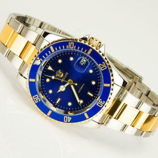 Bellos Herrenuhr Blue Mechanisch Automatisch Stahl Armband Stahl 2 Farben Bild