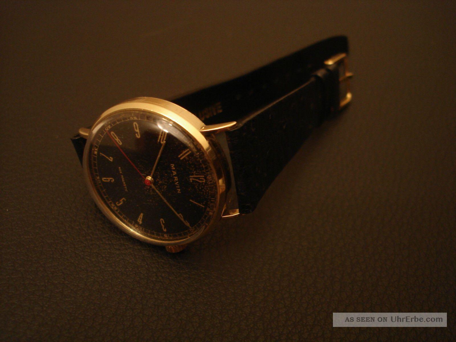 wundersch ne schweizer uhr marvin armbanduhr aus massiv 14k 585 gold. Black Bedroom Furniture Sets. Home Design Ideas