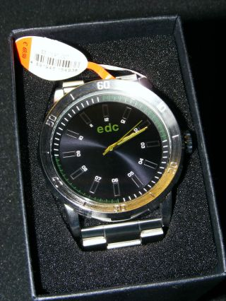 Edc By Esprit Massive Herrenuhr Star Cool Black Edelstahl In Ovp Bild