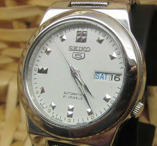 Seiko 5 Mechanische Weiß Japanische Automatik Uhr Tag Und Datumanzeige 21 Jewels Bild