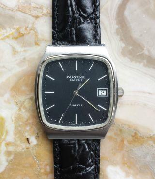 Armbanduhr Dugena Amara - Retro - Lederband PrÄgung - 80 Jahre - Sammler Bild