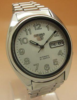 Seiko 5 Durchsichtig Automatik Uhr 7s26 - 0550 21 Jewels Datum&tag Bild