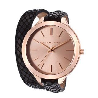Michael Kors Uhr Mk2322 Slim Runway Double - Wrap Rosegold Damen Leder Armbanduhr Bild