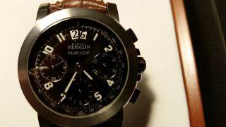 Armbanduhr Chronograf Michel Herbelin Automatic Newport J - Class Stahl Krokoband Bild