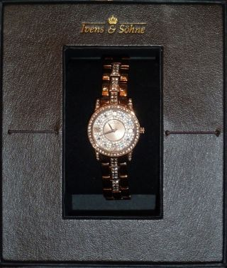 Damenuhr Messing Rosévergoldet Kristall Quartz Ivens & Söhne S 142 Bild