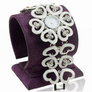 Liebe Herz Weiß Emaille Kristall Link Armreif Mode Quartz Armbanduhren Watch Bild