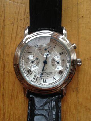 Claude Valentini Uhr Unisex Leder Schwarz Silber Blau Neuwertig Bild
