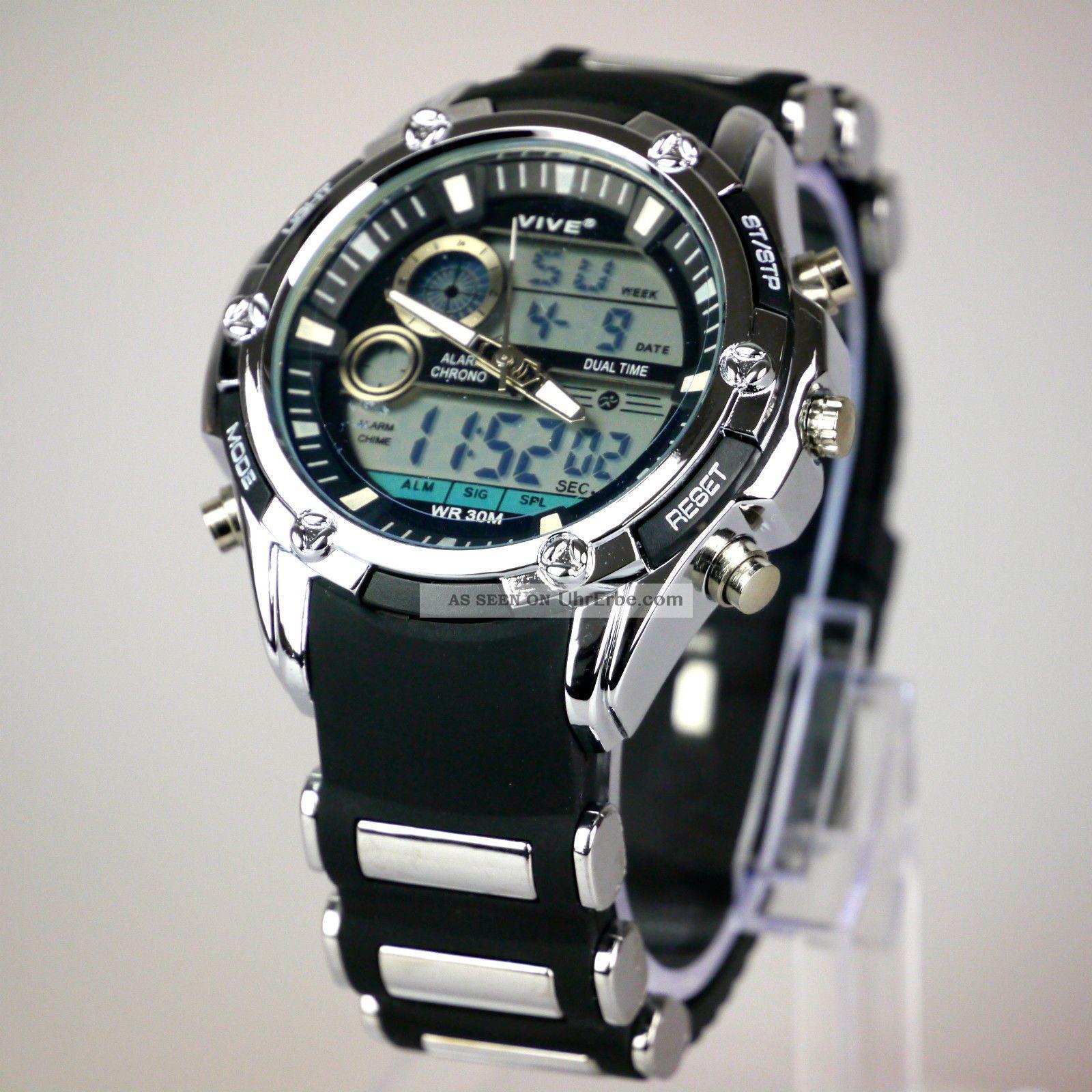 herren vive armband uhr massiv silber schwarz watch analog. Black Bedroom Furniture Sets. Home Design Ideas