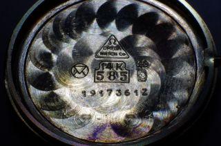 Omega Quartz Cal 1365 Herrenuhr 14k 585 Gold Lederarmband Bild