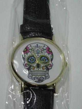 Damen Skull Retro Muster Totenkopf Uhr Armbanduhr Armband Kunst - Leder Top Look Bild
