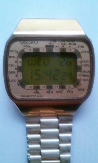 Seltene 80er Seiko World Timer Digital Typ Cal.  M158 Mit Bedienungsanleitung Bild